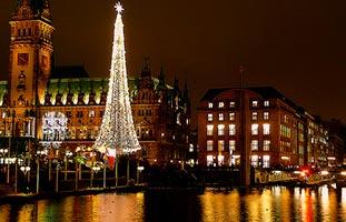 verlichte kerstboom